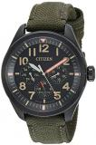 Citizen Men's 'Military' Quartz Stainless Steel and Nylon Casual Watch, Color:Gr...