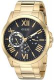 GUESS  Gold-Tone Stainless Steel + Black Bracelet Watch with Day, Date + 24 Hour...