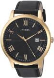 GUESS  Oversized Classic Black Genuine Leather Watch with Date. Color: Black/Gol...