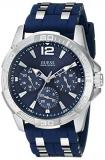 GUESS Iconic Blue Stainless Steel Stain Resistant Silicone Watch with Day, Date ...