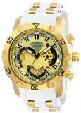 Invicta Men's Pro Diver Stainless Steel Quartz Watch with Silicone Strap, White,...