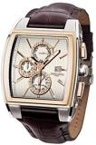 Jorg Gray JG6300-38 Rectangular Watch with Brown Italian Crocodile Leather Patte...