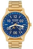 NIXON Men's Ascender Japenese-Quartz Analog Watch with Stainless Steel Band - All Gold/Blue Sunray